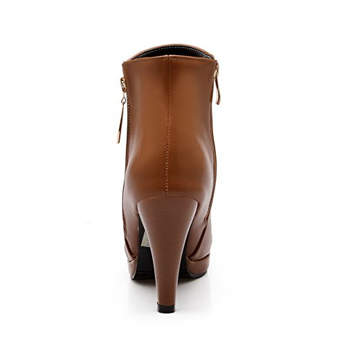 Round Boots Women's Solid High Allhqfashion Pu Top Brown Low Toe Heels Closed 5fwnH