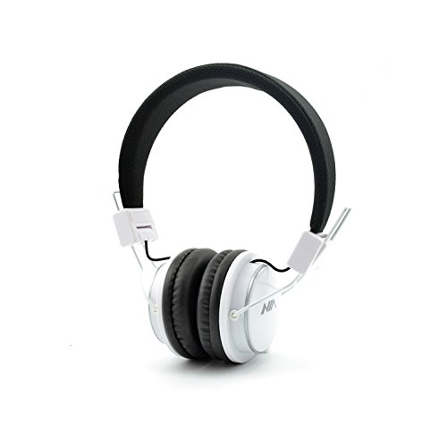 Portable Wireless Bluetooth Headphones Over Ear, AiTalk Q8 Stereo Foldable Headsets with Microphone, Support Hands-Free Calling, FM Radio, TF Card and 3.5mm Aux (White)