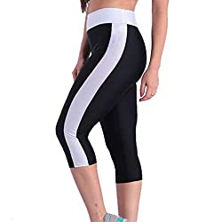 Iybuia Women S High Waist Patchwork Yoga Capris Pants With Side Pockets Tummy Control Workout Leggings White
