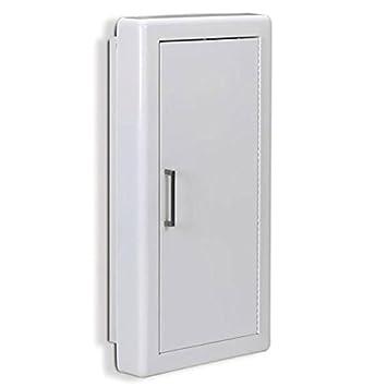 Jl Industries Fire Extinguisher Cabinet White, Semi Rec, 3u0026quot; Trim, Solid