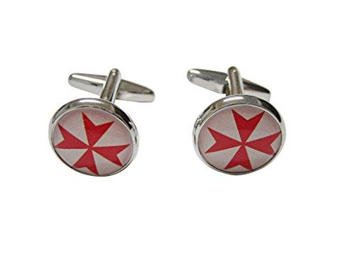 (Red Maltese Cross Pendant Cufflinks)