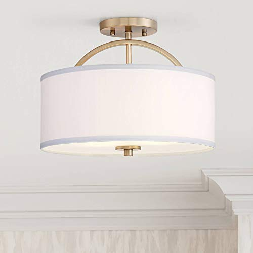 Halsted Modern Ceiling Light Semi Flush Mount Fixture Warm Brass 15