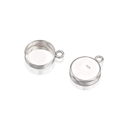- Round Setting with 1 Loop 925 Sterling Silver 10 mm Bezel Cup Findings for Pendants Charms Earrings, 4 Pcs