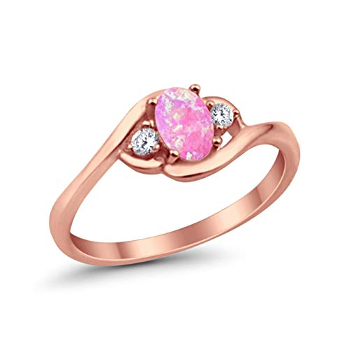 Blue Apple Co. Fashion 3-Stone Ring Oval Created Pink Opal Simulated Round CZ Rose Tone 925 Sterling Silver