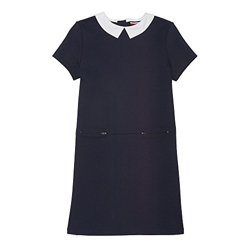 French Toast Big Girls' Woven Collar Double Zip Dress, Navy, (Girls Drop Waist Dress)