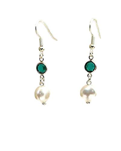 (White Swarovski Coin Pearl Earrings with Emerald Green Swarovski Crystal Channel Links, Hypoallergenic or Nickel Free Ear Wires, Wedding Jewelry)