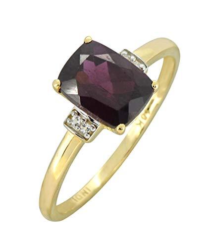 YoTreasure 1.50 Ct. Red Rhodolite Garnet Solid 10K Yellow Gold Gemstone Princess Ring 1.5 Ct Garnet Ring