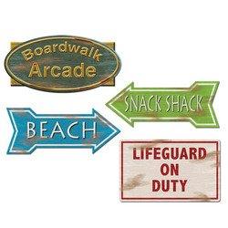 Beach Sign Cutouts Party Accessory (1 count) (4/Pkg), Health Care Stuffs