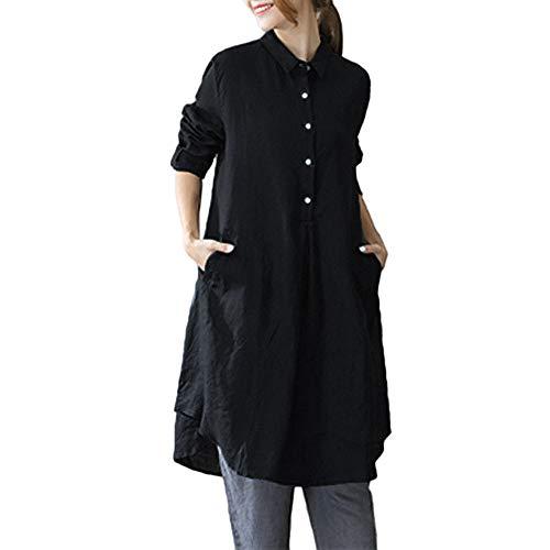 Beikoard Haut Femme Tunique Top à Manches Longues Tunique pour Femmes Top Blouse Shirt Pull à Manches Longues en Coton Noir