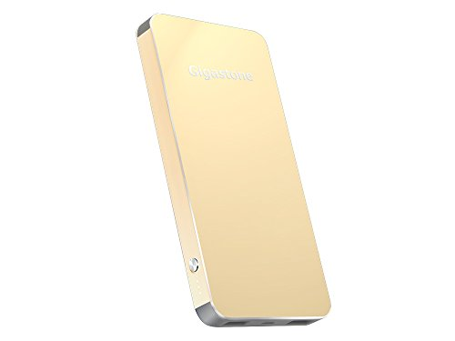 Gigastone 10000 mAh Power Bank P5 Gold 2.4A Out Dual USB Ports Lithium Polymer Cell in Aluminum Casing Mobile GS-P5K-100I-GLD-R