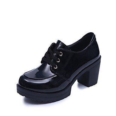 Heart&M Mujer Oxfords Confort Otoño PU Vestido Pedrería Con Cordón Tacón Robusto Negro Gris 7'5 - 9'5 cms gray