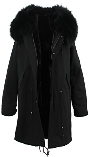 S.ROMZA Women Hooded Parka Faux Fur Winter Warm Long Jacket Coat Detachable