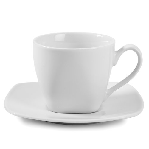 - Gourmet Whiteware Collection, Square Cup and Saucer Set