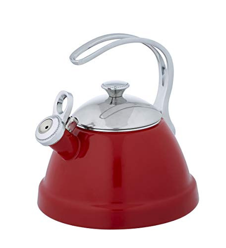Porcelain Coated Stainless Steel Cooktop - Copco 5213771 Beaded Tea Kettle, 2 Quart, red