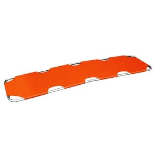 LINE2design Emergency Rescue Flat Foldaway Portable Stretcher With Two Steel Bars- Orange - Folding Stretcher