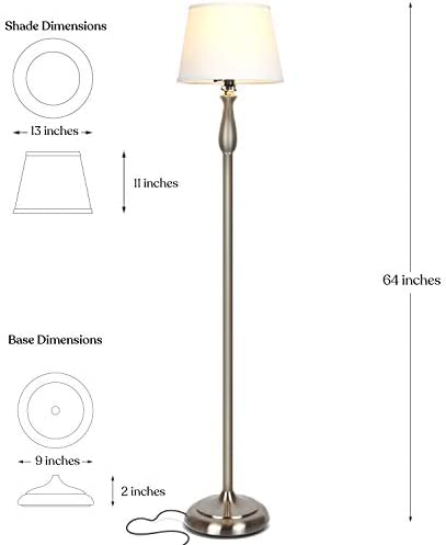 Amazon Com Brightech Gabriella Led Floor Lamp Free Standing Elegant Style Tall Pole Light For Living Room Office Or Bedroom Modern Upright Light With Fabric Shade Led Bulb Included