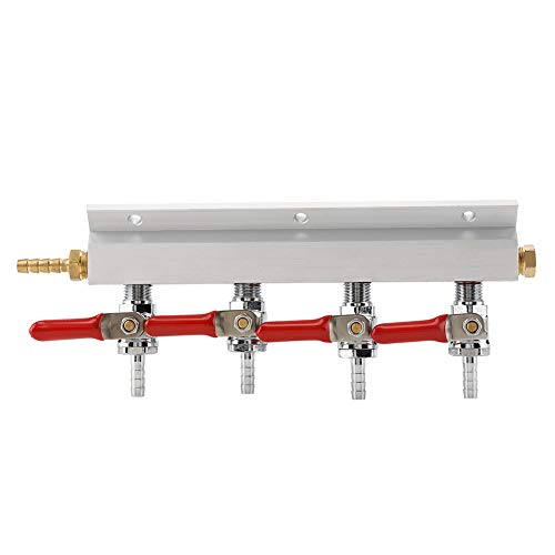 (MFL Valves, Swivel Nut, 5/16 inch Stem, 4 Way Air Manifold 4 way Co2 Air Gas Manifold distributor for Home-brew Draft Beer-1/4
