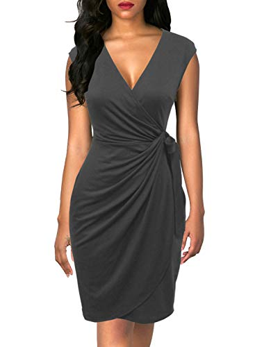 Berydress Women's Classic Cocktail Party Cap Sleeve Deep V Neck Draped Waist Tie Belt Knee-Length Faux Wrap Dress (M, 6028-Grey)