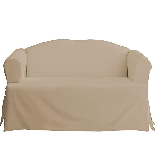 SureFit SF28613 Cotton Duck One Piece Loveseat Slipcover, Linen