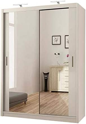 Milan - Armario de Puerta corredera con Espejo Completo, Blanco, 120 cm: Amazon.es: Hogar