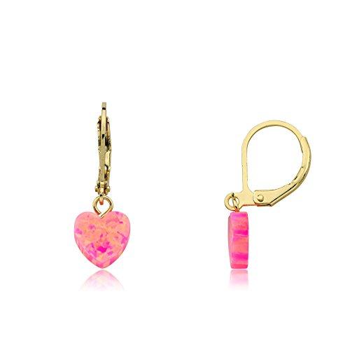 Little Miss Twin Stars Glitter Girl Opal Leverback Heart Earrings (Heart Leverback Childrens Earrings)