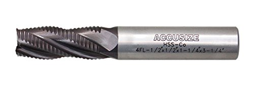 Accusize Industrial Tools Coarse Tooth M42 8% Cobalt Tialn Roughing End Mill, 1/2'' Diameter, 1/2'' Shank Diameter, 1-1/4'' Flt Length, 1102-0012