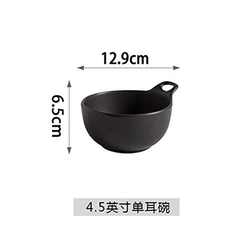 (Matte matte ceramic bowl black glaze with handle bowl single ear bowl salad bowl pudding bowl home rice bowl dessert bowl black 4.5 inch)