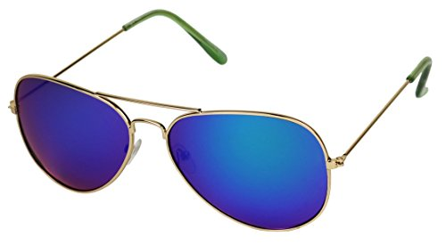 Basik Eyewear- Classic Teardrop Metal Pilot Aviator Sunglasses w/ Mirrored Color Reflective Lens (Rainbow Lens, - Shipping Sunglasses Drop