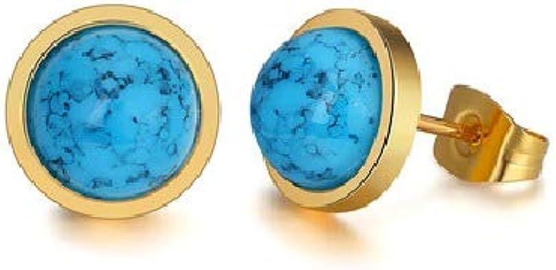 Pendientes de acero inoxidable de calidad y piedra coloidal azul