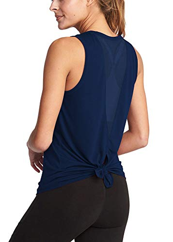 Bestiun Active Tanks for Women Casual Classic Color Block Comfortable Cool Dri Loose Fitting Muscle Lady Tank Top Mesh Back Workout Clothes Navy Blue M