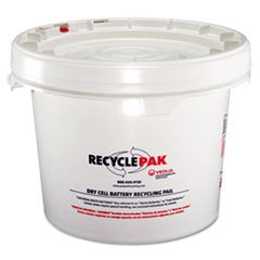 (RECYCLEPAK Prepaid Recycling Container Kit for Batteries, 3 1/2 gal Round Pail, White)