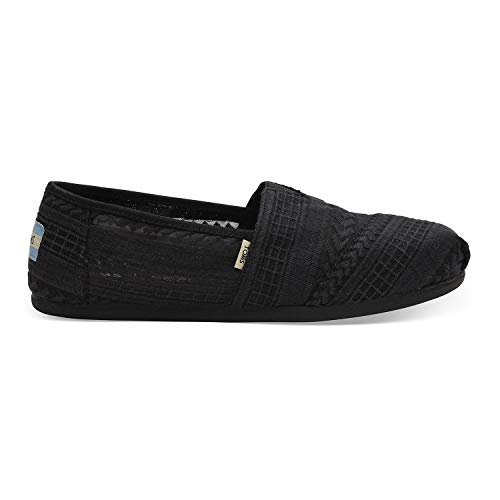 Black Classic Slip On - TOMS Women's Black Arrow Embroidered Mesh 10013491 (Size: 8.5)