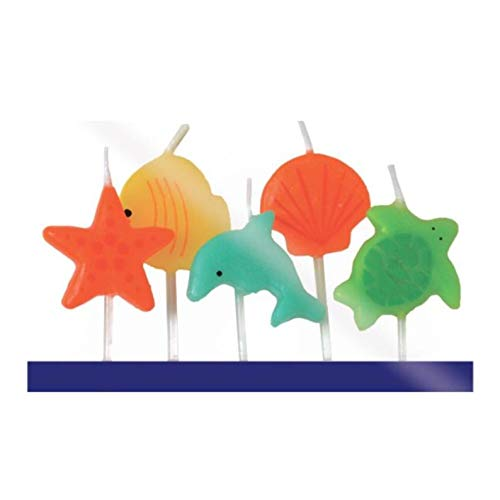 Cutdek Birthday Candles, Set of 5, Under The Sea Candles, Fish, Turtle, Star Fish, Clam, Dolphin, Candles, Under The sea Party, Birthday, Party