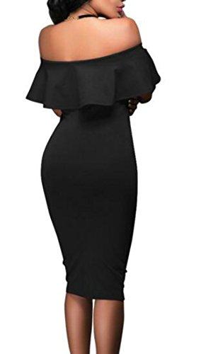 Cromoncent Femmes Boîte De Nuit Sexy Gaine De L'épaule Ruffles Crayon Partie Longue Robe Noire