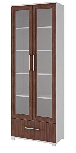 Cabinet Modern Glass (Manhattan Comfort 75AMC193 Serra Modern Storage Bookcase with Glass Door White/Nut Brown)