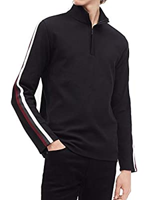 Calvin Klein Mens Sweater Small 1/4 Zip Side Stripe Pullover Black S
