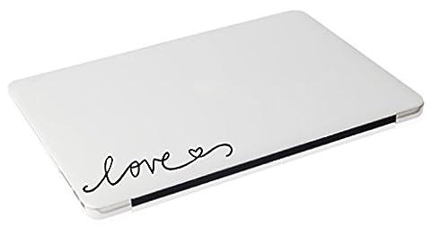 Laptop MAC - #3 Love apple macbook funny decal - matte black skins stickers - Vinyl Quote Design Sticker