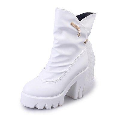 CH&TOU Da donna-Stivaletti-Formale Casual-Comoda-Quadrato-Finta pelle-Nero , white , us7.5 / eu38 / uk5.5 / cn38