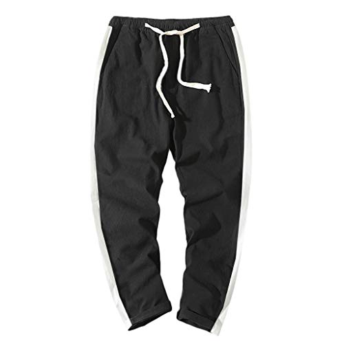 iYYVV Mens Striped Straps Summer Pocket Fashion Sport Pants Casual Sweatpants Black