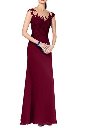 Brautmutterkleider Partykleider Promkleider Etuikleider Damen Langes Burgundy Burgundy Charmant Abendkleider Chiffon OA6pqWZ