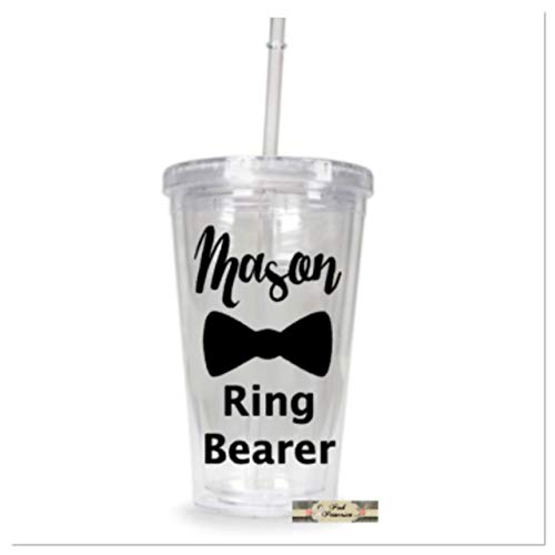 Favor Any Color - Personalized Ring Bearer Tumbler, Personalized Wedding Cup, Boy Gift, Bridal Shower Gift, Wedding Favors, Any Color Lettering
