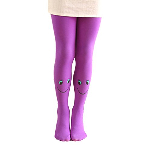 Move on Child Christmas Stockings,Smiley Baby Velvet Children Leggings Dancing Pantyhose Purple