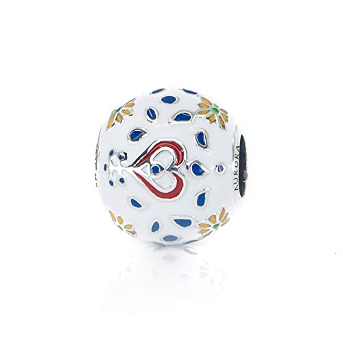 (Hearts & Flowers Charm Bead S925, Red, Blue & White Enamel & Sterling Silver Floral Charm Bead S925, Folk Art inspired Charm Bead pendant, Folklore Floral Jewelry, Pandora compatible)