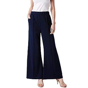 ANGGREK Palazzo Pants for Women Casual Long High Waist Wide Leg Trousers