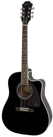 Epiphone AJ-220SCE Solid Top Cutaway Acoustic / Electric Guitar, Ebony - Ebony Rosewood Fretboard