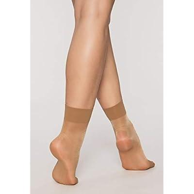 Nylon Ankle Socks | 6 pairs | Women's 20D Transparent Hosiery Socks (Beige) at Women's Clothing store