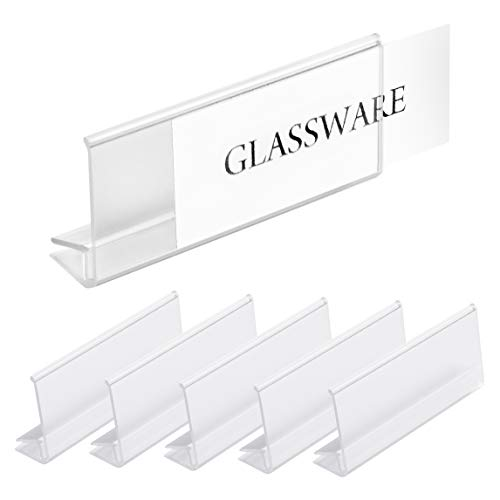 Pack of 25 - Clear Plastic Glass Shelf Label Holder, Glass Shelf Sign and Ticket Holder, Clips On to Shelves 3/16