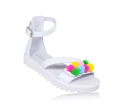 PANDA - Weiße Sandale aus Leder, made in Italy, moderner Stil, mit Schnallenverschluss, Mädchen