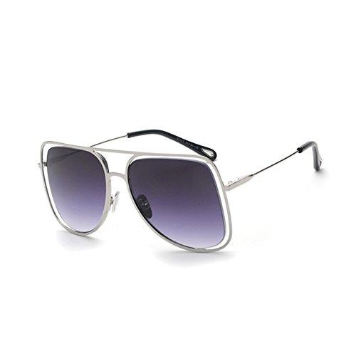 Gafas Cuadro TL gafas G unas de Silver hueco cuadradas sol de C1 espejo mujer C4 UV443 salida enormes plata de señoras gafas de Gray Sunglasses sol tonos 7wwqA5rf