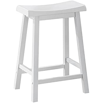 Amazon Com White 24 Quot H Saddle Seat Bar Stools Set Of 2